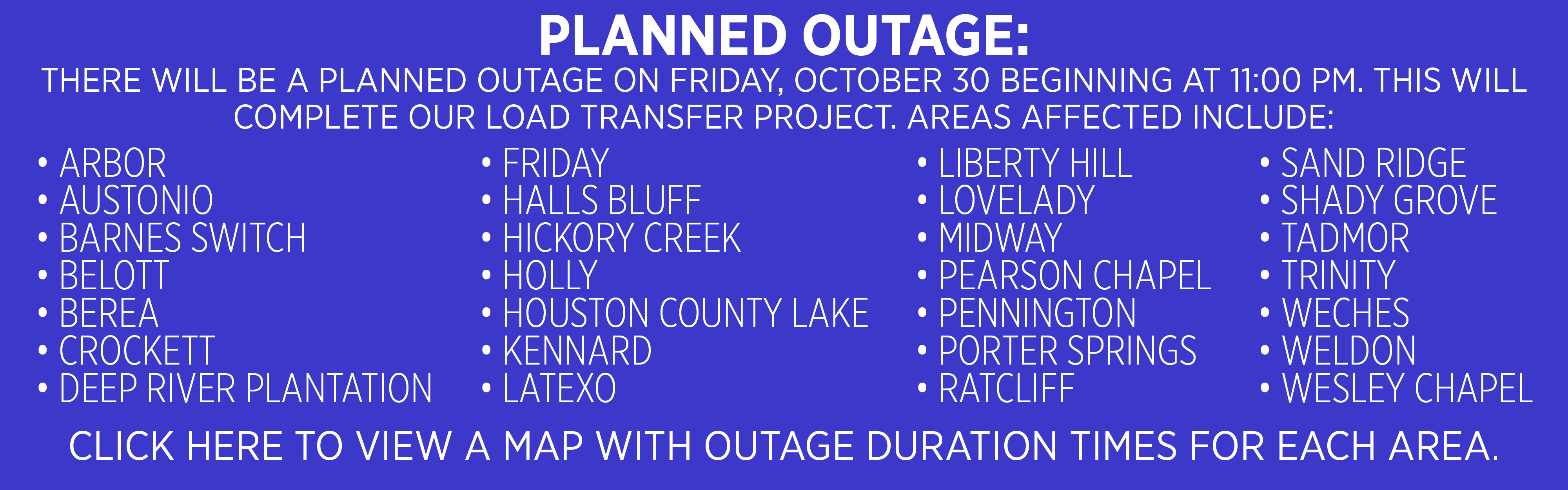 PLANNED OUTAGE INFORMATION